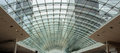 Glass roof mall panel pattern with steel girders Stock Images