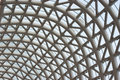 Glass roof with metal baffles Stock Photo