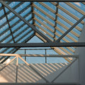 Glass roof piece transparent of and concrete sunny day Royalty Free Stock Photos