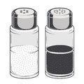 Glass salt and pepper shakers isolated on a white background. Color Line art. Retro design. Royalty Free Stock Photo