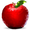 Glass shiny apple polygons white background Stock Image