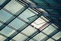 Glass skylight roof with open window Royalty Free Stock Photo