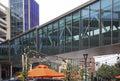 Glass skywalk walkway buildings
