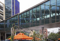 Glass skywalk walkway buildings Royalty Free Stock Photo