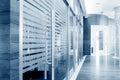 Glass sliding doors office corridor Stock Images