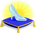 Glass Slipper on Pillow/eps Royalty Free Stock Photo