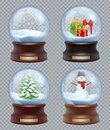 Glass snow ball. Crystallizing magical christmas toy snowglobe vector realistic template Royalty Free Stock Photo
