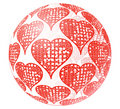 Glass sphere with red ornament of heart Royalty Free Stock Photo