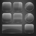 Glass square, rectangular and round buttons on checkered background. Vector icons set