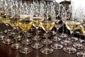 Glass stemware and wine Royalty Free Stock Photo