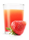 Glass of strawberry juice isolated on the white background Royalty Free Stock Photo
