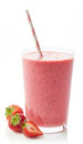 Glass of strawberry milkshake Royalty Free Stock Photo
