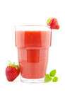 Glass of strawberry smoothie big fresh homemade Royalty Free Stock Photography
