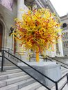 Glass Sun Sculpture by Dale Chihuly at Montreal Museum of Fine Arts Royalty Free Stock Photo