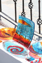 Glass tableware on display in a market in firostefani village santorini greece Royalty Free Stock Photos