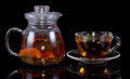 Glass tea pot with cap isolated on black background Stock Images