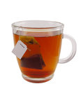 Glass teacup with teabag Royalty Free Stock Photo