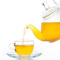 Glass teapot and cup of tea isolated Royalty Free Stock Images