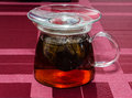 Glass teapot tea is ready in the standing on a checkered cloth Royalty Free Stock Image