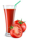 Glass of tomato juice with fruit isolated on white. Royalty Free Stock Photo