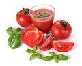 Glass of tomato juice and fruits Stock Photos