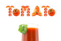 Glass of tomato juice with a word at the top of the tomato pieces of chopped tomatoes on white background Royalty Free Stock Photo