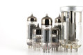 Glass vacuum radio tubes over white Royalty Free Stock Image