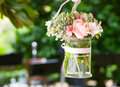 Glass vase with flowers a beautiful ornament in a wedding Royalty Free Stock Photos