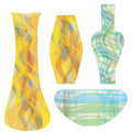 Glass vases in striped colorful design Royalty Free Stock Photo
