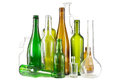 Glass waste bottles group of mixed colored on white Stock Photo