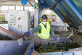 Glass waste worker in recycling facility Royalty Free Stock Photo
