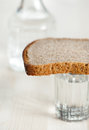 Glass of water and bread decanter Royalty Free Stock Images