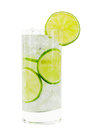 Glass with water clipping path ice cubes and limes against white background Stock Image