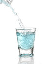 Glass of water cold with splash and blebs Stock Image