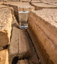 A glass of water in crack parched soil iii on during drought and dry season Stock Image