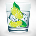 Glass of water with ice and lemon Royalty Free Stock Photo