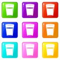 Glass water icons 9 set Royalty Free Stock Photo