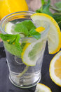 A glass of water, lemon and mint.