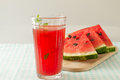 Glass of watermelon juice and fresh fruit Royalty Free Stock Images