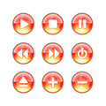 Glass website audio fire icons Royalty Free Stock Photo