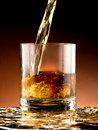 Glass of whiskey poured into the Stock Images
