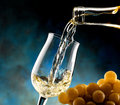 Glass of white wine poured to toast Stock Image