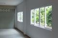Glass window sliding on white wall interior Royalty Free Stock Photo