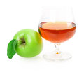 Glass wine apple isolated on white background Royalty Free Stock Image