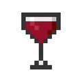 Glass wine pixel art cartoon retro game style