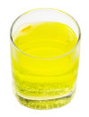 Glass of yellow carbonated water with vitamin C Stock Image