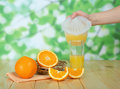 Glasse of orange juice fruits and pitcher composition with two glasses Stock Photo