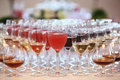 Glasses of alcohol beverages Royalty Free Stock Images