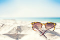 Glasses on a beach Royalty Free Stock Photo