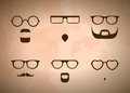Glasses and beards silhouettes of men s Royalty Free Stock Photos